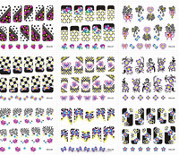 Minx Water Nail Art Stickers, Full Cover Hot Bow Leopard Mix Designed Nail Decal Wraps,Stylish Nail Decor CH-J-01-30