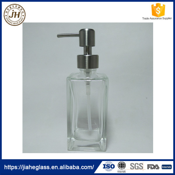 pump sealing type and 200ml high white square glass bottle for shampoo