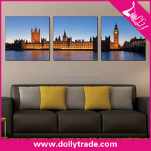 brand buildings over river beautiful night scenery wall painting canvas 3 panel