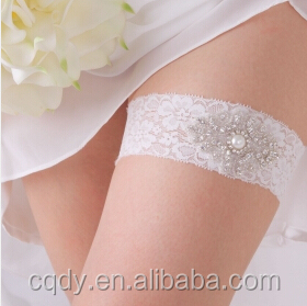 Wedding Suppliers Ivory White Lace Wedding Garter With Rhinestone And Ribbon/Bowknot Bridal Wedding Garter