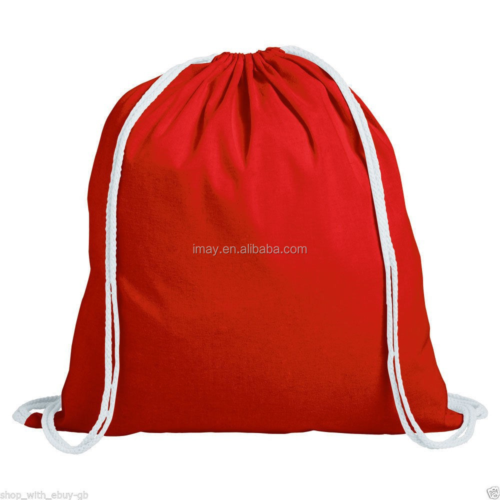 COTTON DRAWSTRING RUCKSACK BACKPACK TOTE BAG - SCHOOL GYM PE BOOK BAGS - ECO