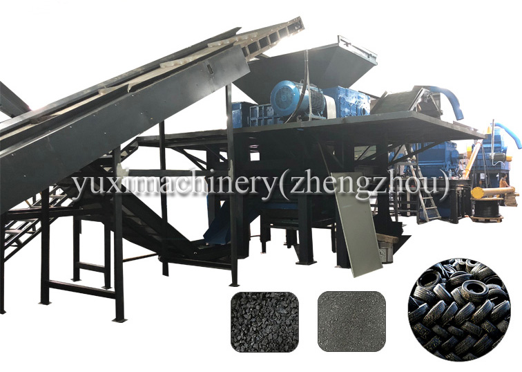 High Output scrap steel rubber tire crusher waste tire granular chips recycling machine metal steel used tire recycling plant