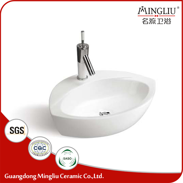 Unique design white ceramic art wash sink washroom basin