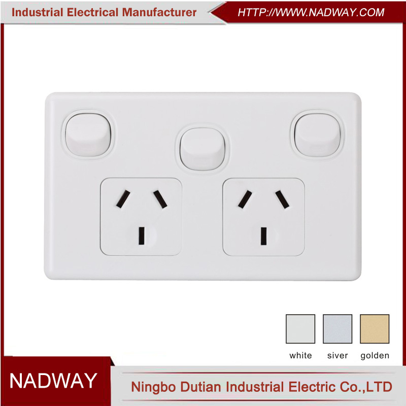 10A 250V SAA double 3-gang electric switch and socket