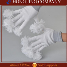 LED Light Up Cheering Gloves with Fur Pom Pom