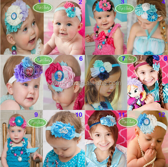 2015 New Trendy Fashion Top Frozen Baby <strong>headband</strong>/hairband with Elastic for hair Accessories