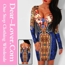clothing manufacturers Wild Luxe Multi Print Bodycon Mini Dress