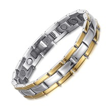 Fashion Wholesale Jewelry Stainless Steel Bracelets Magnetic Mens Genuine Leather Bracelet