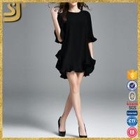 Nice black frocks, elegant casual sleeveless dress, new fashion chiffon pleated ladies long evening dresses