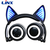 2018 Hot selling patented noise cancelling wireless cat ear headphones with LED lights