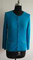 Fashion ladies blue plain knit cardigan with 2 small pockets
