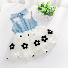 JB7010 Cheap Kid clothing Wholesale Price Made in China Denim Flower Girl Dress for Children