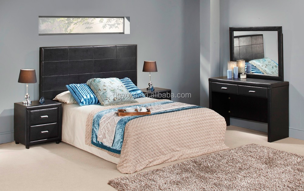 396-399 modern bedroom suite furniture upholstery faux leather prado bed upholstered PU leather simple bed