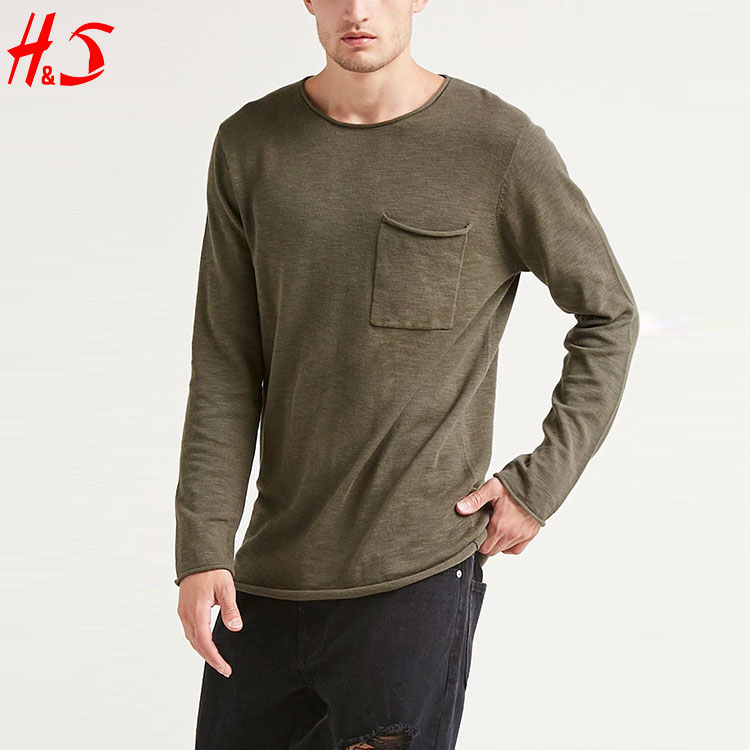 China Supplier Wholesale Casual Men's Long Sleeves Cotton T Shirt Knit Top