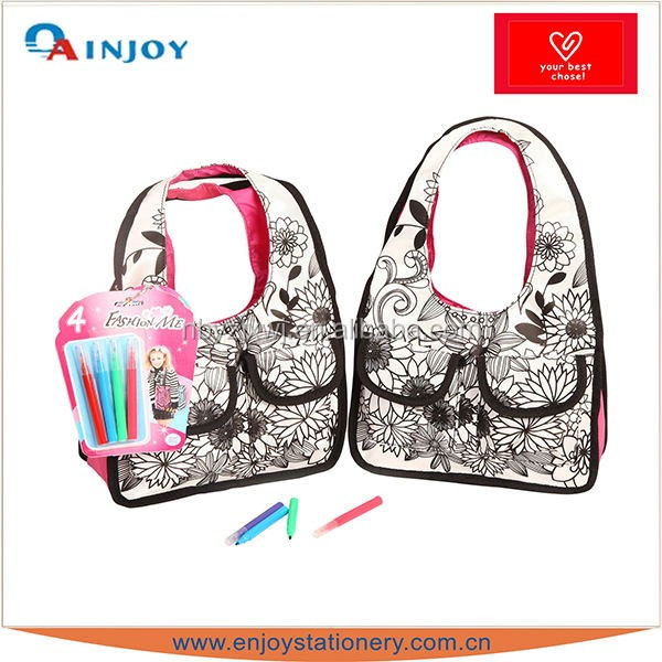 New fashion color your own DIY satin hand bag for kids with painting markers