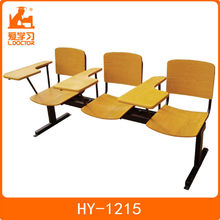Wooden and metal frame 3-seater school desk