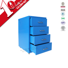 metal furniture colorful mobile four drawer cabinet / slim 4 drawer vertical steel cabinet with casters