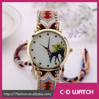 New Arrive Casual Handmade Braided Watches Cartoon Women Men friendship bracelet watch XR1256