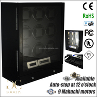New Developed Wise 9 Mabuchi Motor Automatic Watch Winder with LED Light LCD Display Remote Control GC03-N20BB-L-AR