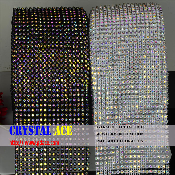 Best quality real <strong>crystals</strong> 12cmX10 yards 18 rows <strong>crystal</strong> elastic rhinestone mesh trimming for costume designs