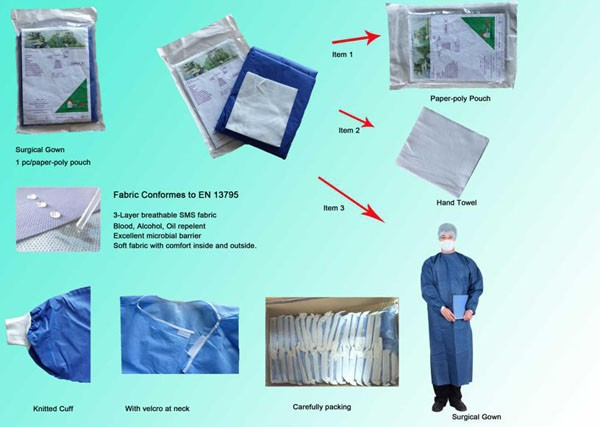 Disposable Sterile surgical gown gloves