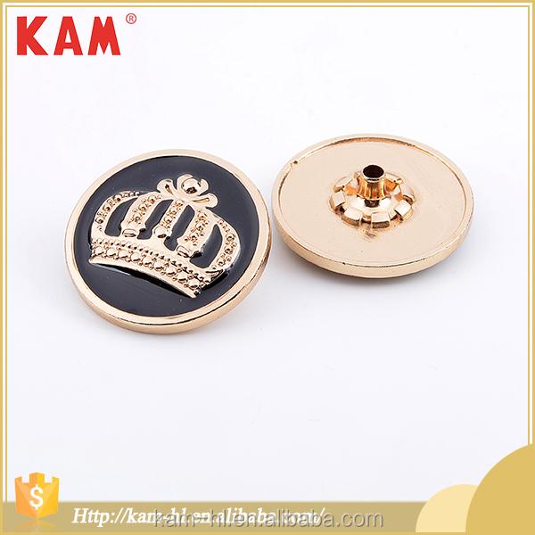 Fashion garment accessories round customized logo brass base craft button,snap button jewelry
