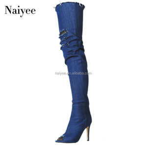 Latest design denim boots over the knee thigh high peep toe women boots
