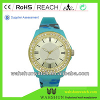 hot selling Roman dial waterproof sport diamond watch colorful straps existing moulds pearl jewellery watch