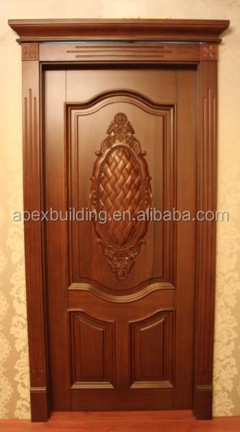Solid wood main entrance door design oil painted for Wooden main door design