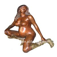 Nude woman statue keenling table art decorative