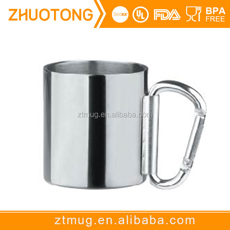 16oz Stainless Steel Coffee Mug , Outdoor Camping Cup With Carabiner Hook ,Pass FDA Test Double Wall