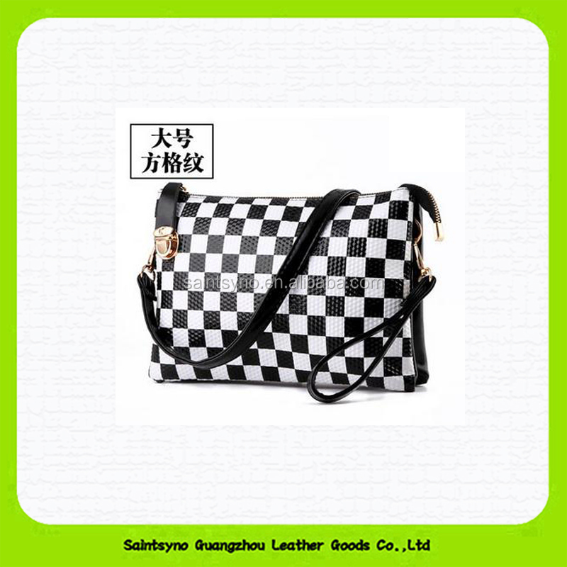 15608 Latest design patchwork genuine leather envelope ladies clutches and purses with wristlet crossbody belt