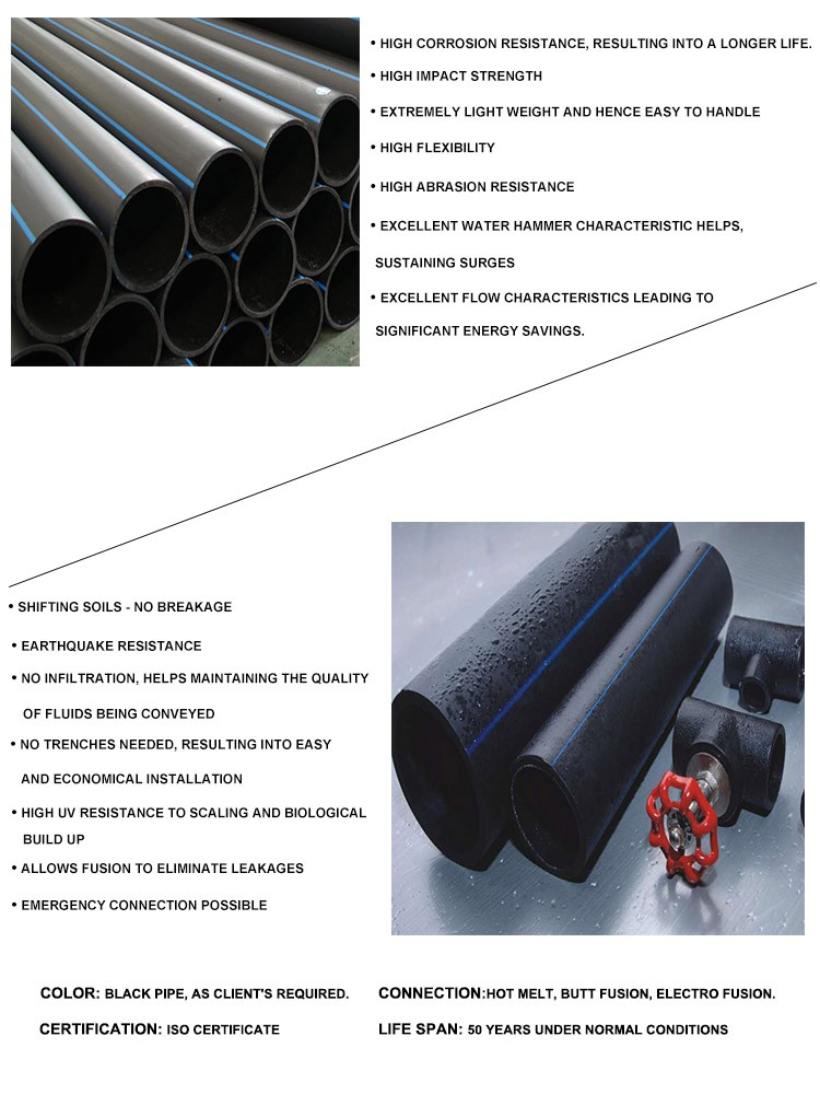 2017 hot sales PE 80 PE100 materials HDPE pipe and fittings for water supply