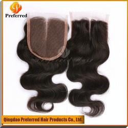 High grade Body wave virgin Peruvian hair silk base lace closure with middle part in stock