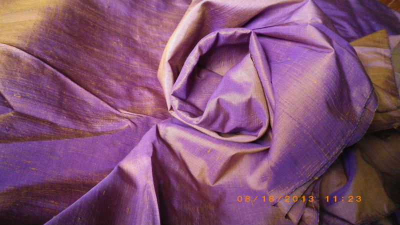 Unique Hand Woven Thai Silk-Cotton Fabric Purple Gold scams, Great Gift