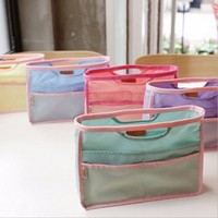 2015 Promotional Travel Nylon Cosmetic Bag Mesh Handbag Organizer
