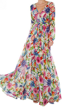 EY1037D 2016 Summer Women Floral Print Long Sleeve V-neck dress Maxi Long Party Casual Cotton Maxi Dress