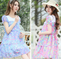 W91299A 2015 korean style summer chiffon maternity dresses wholesale maternity clothes