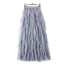 Autumn and winter tutu Korean style high waist <strong>skirt</strong> fashion tulle mesh splicing irregular dance long high waist black <strong>skirt</strong>