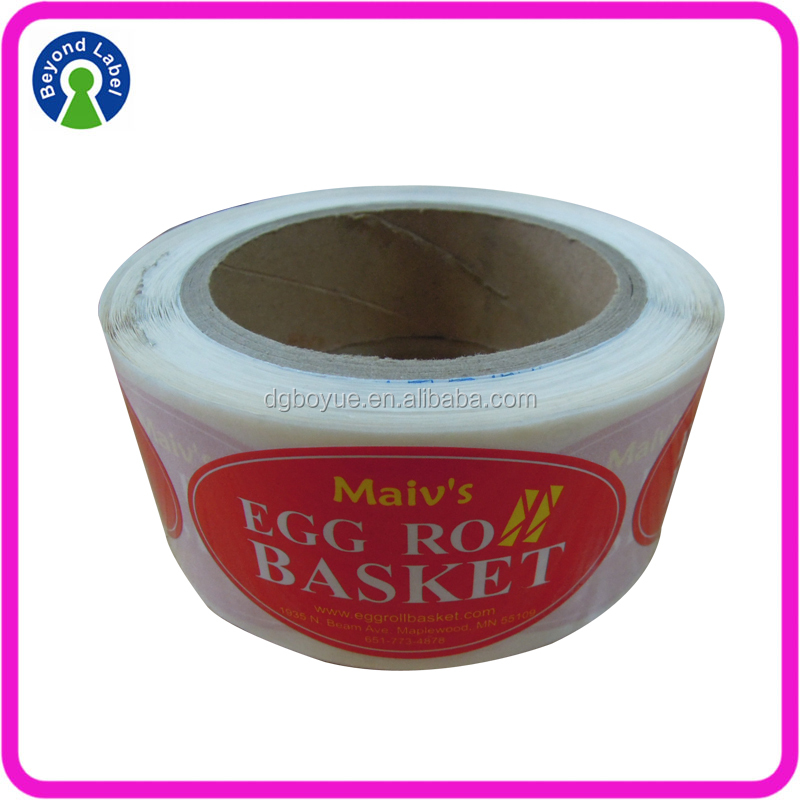 Custom Oval printing Labels for Plastic Adhesive Eggshell sticker roll