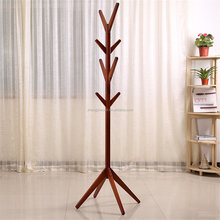 Wood Coat Rack Hall Tree,Teak-Colors Entryway Standing Hat Jacket Coat Hanger Rack,for Bedroom & Living Room