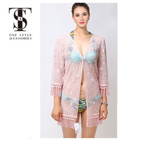Top selling products 2018 summer ladies tassels lace kimono coat cardigan blouse