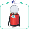 Custom insulated round cooler bag with shoulder strap