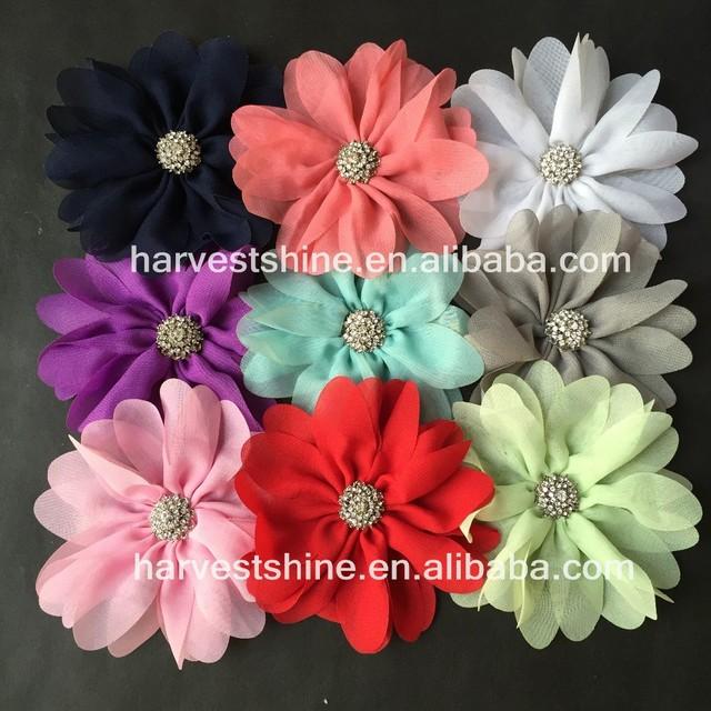 Artificial Daisy Flower,Rhinestone Center Chiffon flower,Hair Accessories