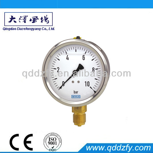 All stainless steel pressure gauge with bourdon tube