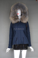Men or Women Fur Hood Jacket Raccoon Fur Collar Parka Wholesale