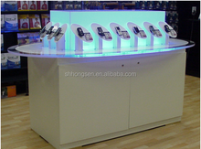 customized high end glass counter furniture for display mobile phone store