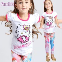 Factory Wholesale 2016 led flashing lights up girls hellokitty short sleeve t shirt with 100% cotton fabric