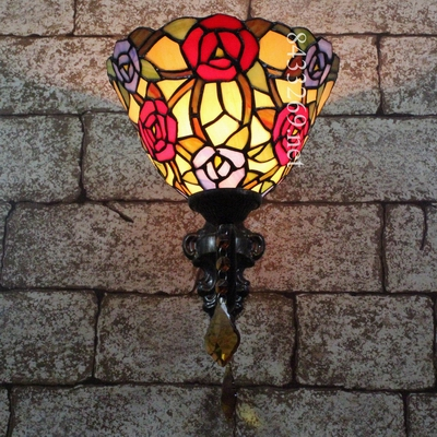 New design 8 inch tiffany wall lights for home with beautiful flowers shade