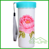 personalized custom logo printing cheap promotional plastic coffee mugs with lanyard